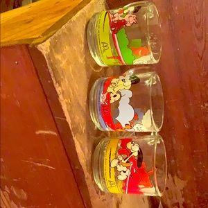 Set of 3 McDonald's Garfield glasses.